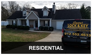 Photo of Danny's locksmith van at a NE Georgia residential service call