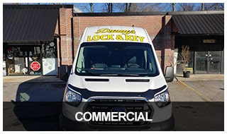 Photo of Danny's locksmith van at a NE Georgia commercial service call